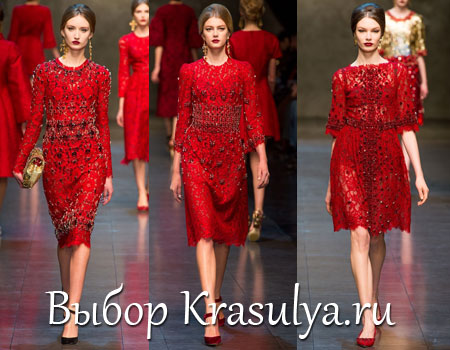 Красное кружевное платье dolce gabbana